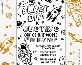 Outer Space Invitation, Outer Space Party, Astronaut Birthday, Boy Birthday Invitation, Out Of This World Printable Invitation