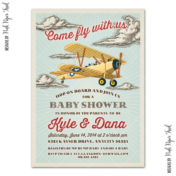 Retro Biplane Airplane Invitation, Airplane Birthday, Baby Shower, Aviator Party, Digital Printable Invitation