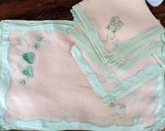 Antique Lace Napkins and Placemats Applique Embroidery in Mint Green and White with Monogram Napkin Handmade Table Linens