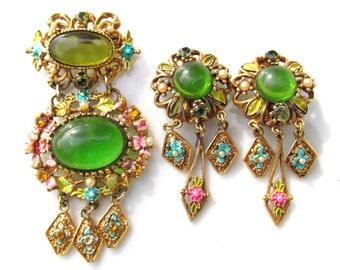 Vintage 1950's Enamel, Brass, Rhinestone and Green Glass Cabochon Brooch Pin & Earrings Set