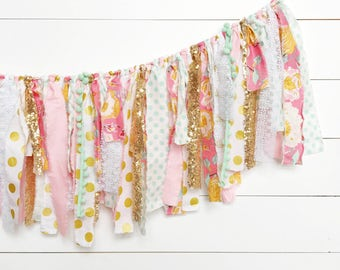 Pink, Mint, and Gold Floral Scrap Fabric Banner