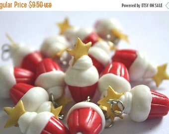 Miniature Star Cupcake Polymer Clay Foods Supplies for Beaded Jewelry Charm, 10 pcs