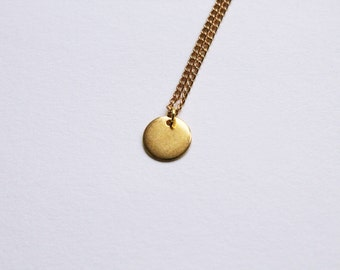 "the dot -necklace (simple everyday dot circle geometric charm on a 16"" gold plated chain)"
