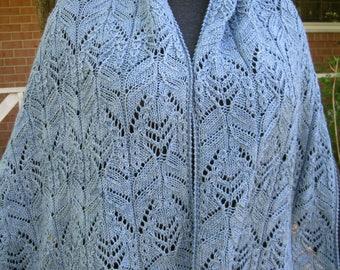 Knit Shawl Pattern:  Tamura Mock Cable and Lace Shawl Knitting Pattern