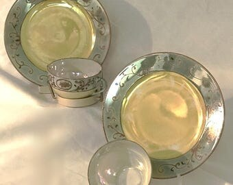 Two Vintage Takito Lusterware China Sandwich Plates and two cups, Green and Yellow Hand painted w/ Moriage Technique,