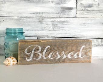 Rustic wood sign, Blessed, reclaimed wood, word art, small gift, mothers day gift