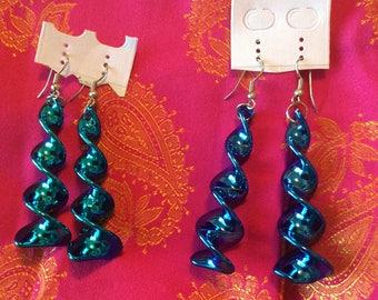 Metallic spiral earrings long pierced dangling lightweight pick blue or teal shiny