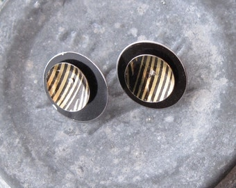 Black and Gold Tin Earrings with Sterling Posts, Stud Earrings