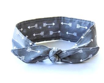 Headband Grey with Arrows Fabric Rockabilly Pin Up Women Teen Girls Hair Accessory Headscarf Top Knot Headband