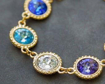Custom Mother's Day Bracelet, Gold Crystal Birthstone Bracelet, Mother's Day Gift, Jewelry, Grandmother's Bracelet
