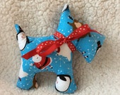 Stuffed Scottie Dog - plush - holiday, winter - blue with reindeer, penguins, polar bears, santa