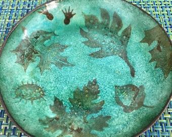 Vintage Turquoise Blue Copper Enamel Dish Plate Leaf Design -copper enamel dish,mid century decor, blue copper enamel plate, enamel dish