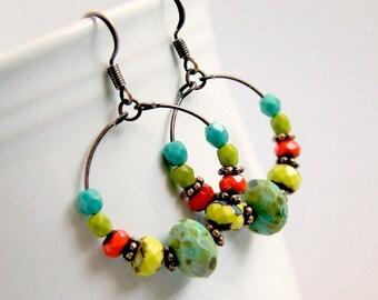frida colorful hoop earrings, beaded hoops, czech glass earrings, copper hoops, boho chic, bohemian