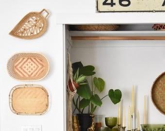 decorative ornate leaf woven straw wall hanging basket / boho
