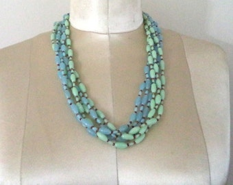 Signed Miriam Haskell Multiple Strand Light Blue Green Glass Bead Necklace Signed