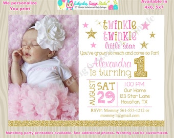 Twinkle Twinkle Little Star First birthday invitation invite pink and gold little star 1st birthday invitation Photo Picture Printable