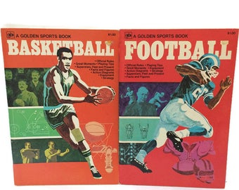 Lot of Two Golden Sports Books, Basketball and Football, 1975 Golden Press USA