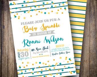 Baby Sprinkle Invitation, Confetti Baby Sprinkle Invite, Printable Stripe Baby Shower Invite - Confetti Stripes in Orange, Teal