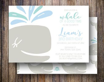 Whale Birthday Party Invitation, Blue Whale Birthday Party Template, Little Whale Birthday Card in Blue, Teal and Gray
