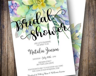 Succulent Bridal Shower Invite, Watercolor Bridal Shower Invitation, Cactus Bridal Shower Template in Purple, Teal, Green