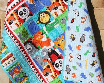 Animal Baby Quilt, Gender Neutral Crib Bedding, Boy or Girl, At the Zoo, Monkey Giraffe Lion Tiger Elephant, Red Blue, Nursery Bedding