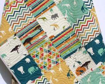 Safari Animals Quilt, Boy Girl Giraffe Elephant Organic Baby Blue Teal Gray Birch Fabric Modern Blanket Triangles Safari Nursery Blanket