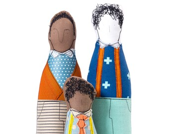 Same sex couple , Mixed Family , Portrait dolls  , Gay family , Proud family , father & son , soft sculpture doll , Personal family