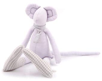 Stuffed animal , Plush mice , Minimalist doll , Stuffed Mouse , Mouse doll ,  Newborn Doll , Modern Nursery , Farm Animal doll , for girl