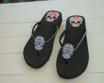 Olivia Paige -  Studs Rock and roll Pin Up rockabilly Flip flops with sugar skull 13 harley