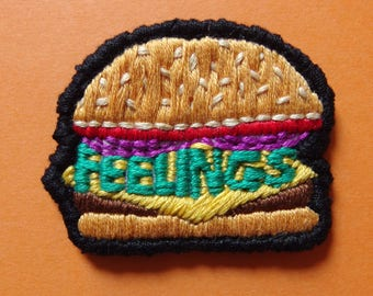 "Feelings burger handmade embroidered 2"" patch"