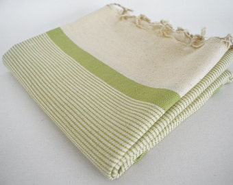SALE 70 OFF/ Turkish Beach Bath Towel Peshtemal / Marine Style / Natural Olive Green Striped / Bath, Beach, Spa, Swim, Pool Towels