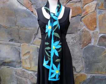 Turquoise and aqua tropical flowers: nuno felt scarf on black silk
