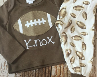 Monogrammed Football baby outfit, pajamas, Football baby clothes, boy, sleepwear, infant, toddler, football shirt