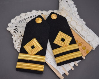 Pair Military Shoulder Boards Shoulder Marks Black Gold Diamond Stripes Button Jacket Suit Coat Air Force Navy Pilot Vintage