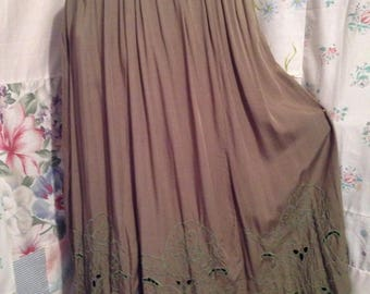 SMALL,  Skirt, Olive Green Bohemian Hippie Gypsy Boho Embroidered Long Skirt