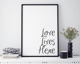 Quote Print| Love lives here print| home decor| wall art| wall hanging| printed| wall art print| Quote