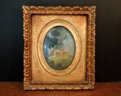 Vintage Italian Florentine Painting of a Roman Aquaduct and Gold Frame / Gold Picture Frame / Hand Painted Italian Picture