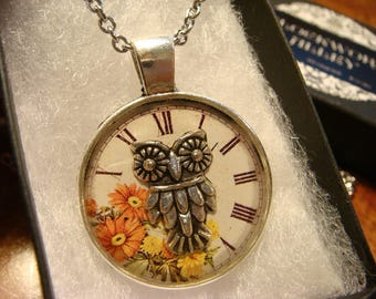 Silver Owl over Floral Clock Face  Pendant Necklace (2393)