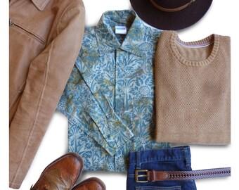 Buttondown Mens Shirt, Casual Mens Gift Shirt, Blue Floral Shirt, Mens Blue Buttondown, Casual Shirt