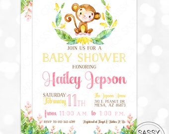 Monkey Baby Shower Invitation Baby Girl Invite Watercolor Monkey Girl Baby Shower Invite Tropical Floral DIY Printable Invite PDF (#186)