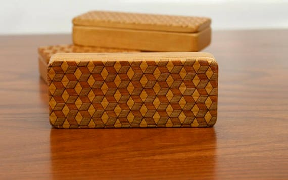 "Cube pattern Stash Box, 5"" x 2"" x 1"", Pattern ST1, Solid Cherry, Rare Earth Magnets for closure and security, Paul Szewc, Masterpiece Laser"