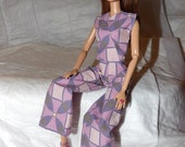 Geometric purple print wide leg pants & wrap front look top for Fashion Dolls - ed967