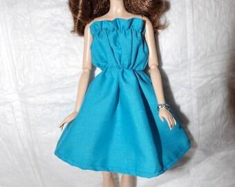 Bright blue ruffle top sun dress for female Fashion Dolls - ed929