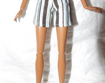 Fashion Doll Coordinates - Blue & brown striped shorts - es419