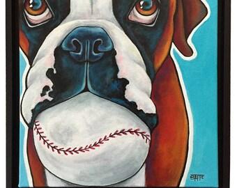 Boxer Portrait Original Acrylic Painting 12x12x1  Dog Art Pet Lover Boxer Dog Art Pet Art