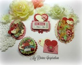 Valentine's Day Vintage Ephemera Paper Hearts and Paper Flowers for Scrapbooking Layouts Cardmaking Mini Albums Tags and Papercrafts