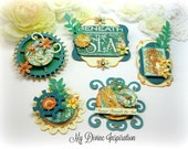 Graphic 45 Voyage Beneath the Sea Handmade Paper Embellishments and Paper Flowers for Scrapbooking Cards Mini Albums Tags and Papercrafts