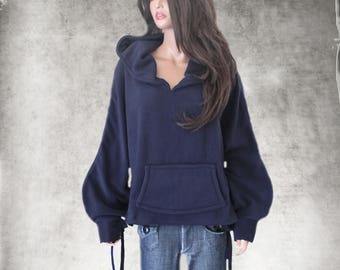 Hood sweatshirt navy/Women fleece top/pull over top/active wear hoody/Long sleeve blouson