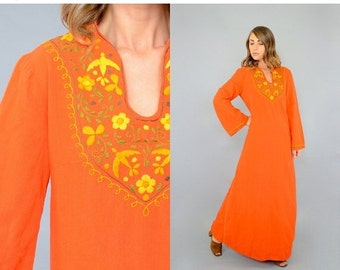 ANNIVERSARY SALE 70's Embroidered MEXICAN Kaftan Dress