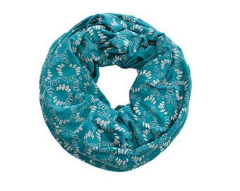 INFINITY SCARF - Screen Printed - Gray Spirals on Turquoise